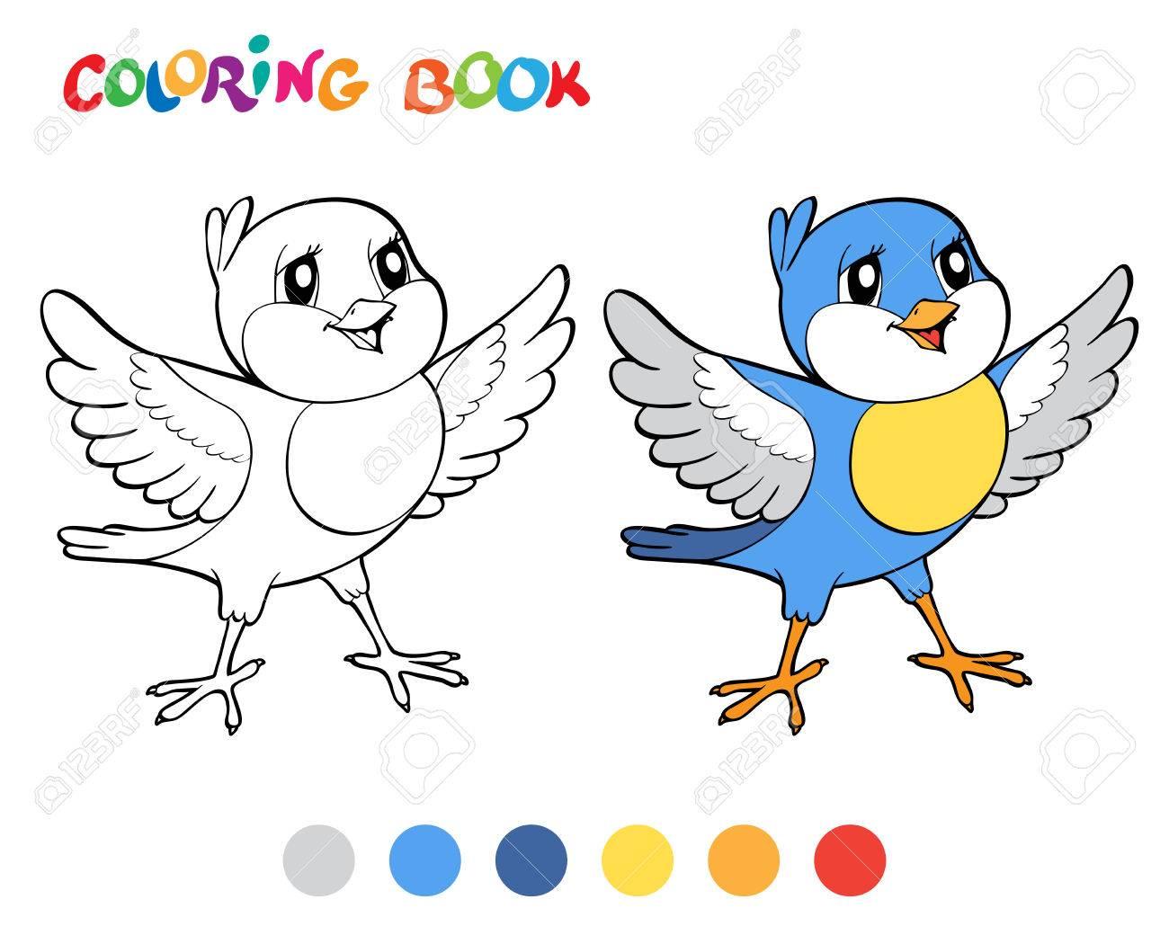 Libro Para Colorear Con El Pájaro Azul. Ilustración Del Vector ...