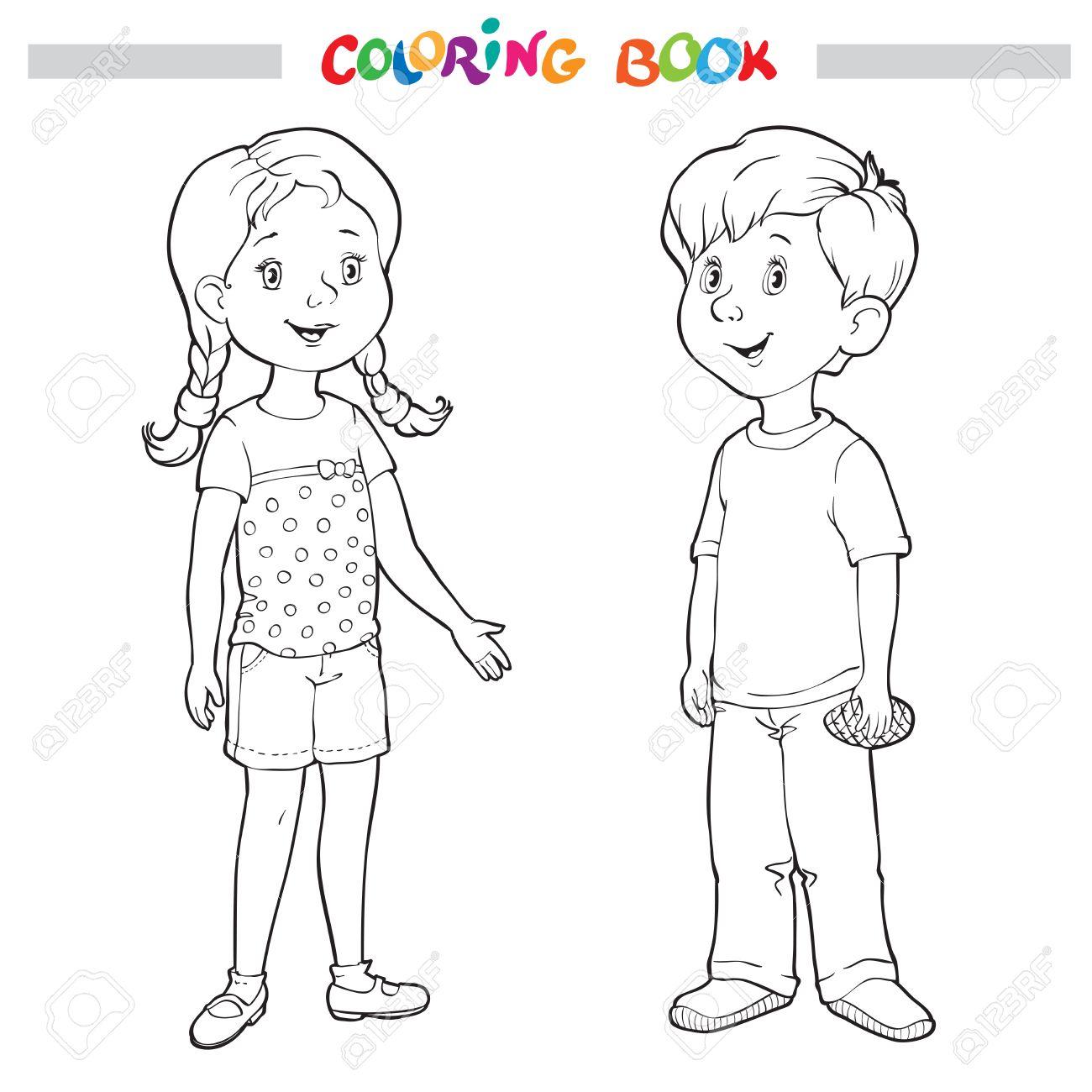 Coloriage Fille Garcon.Coloriage Livre Ou Page Garcon Et Fille Illustration Vectorielle
