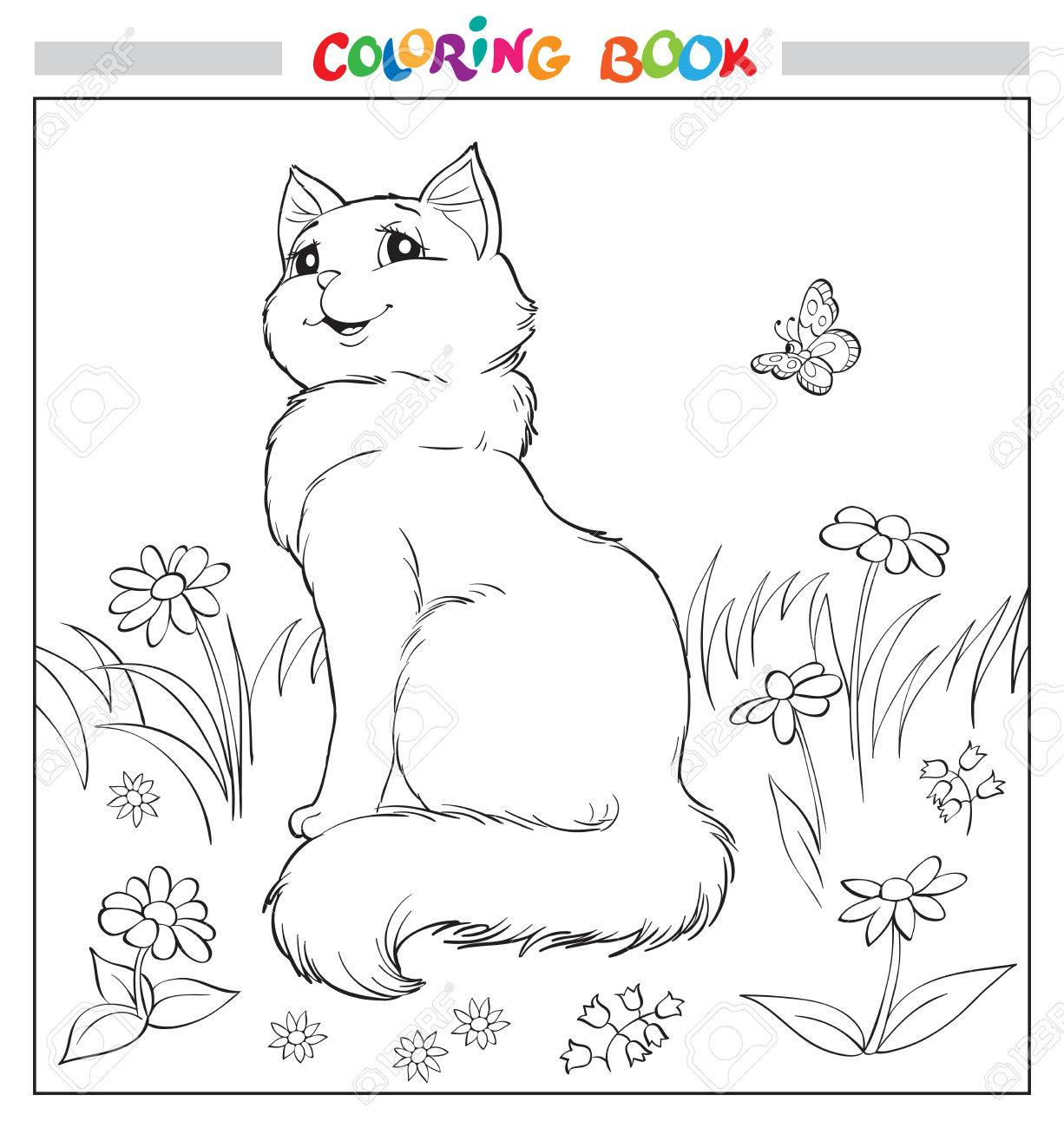 coloring book or page cat sit on grass among flowers and