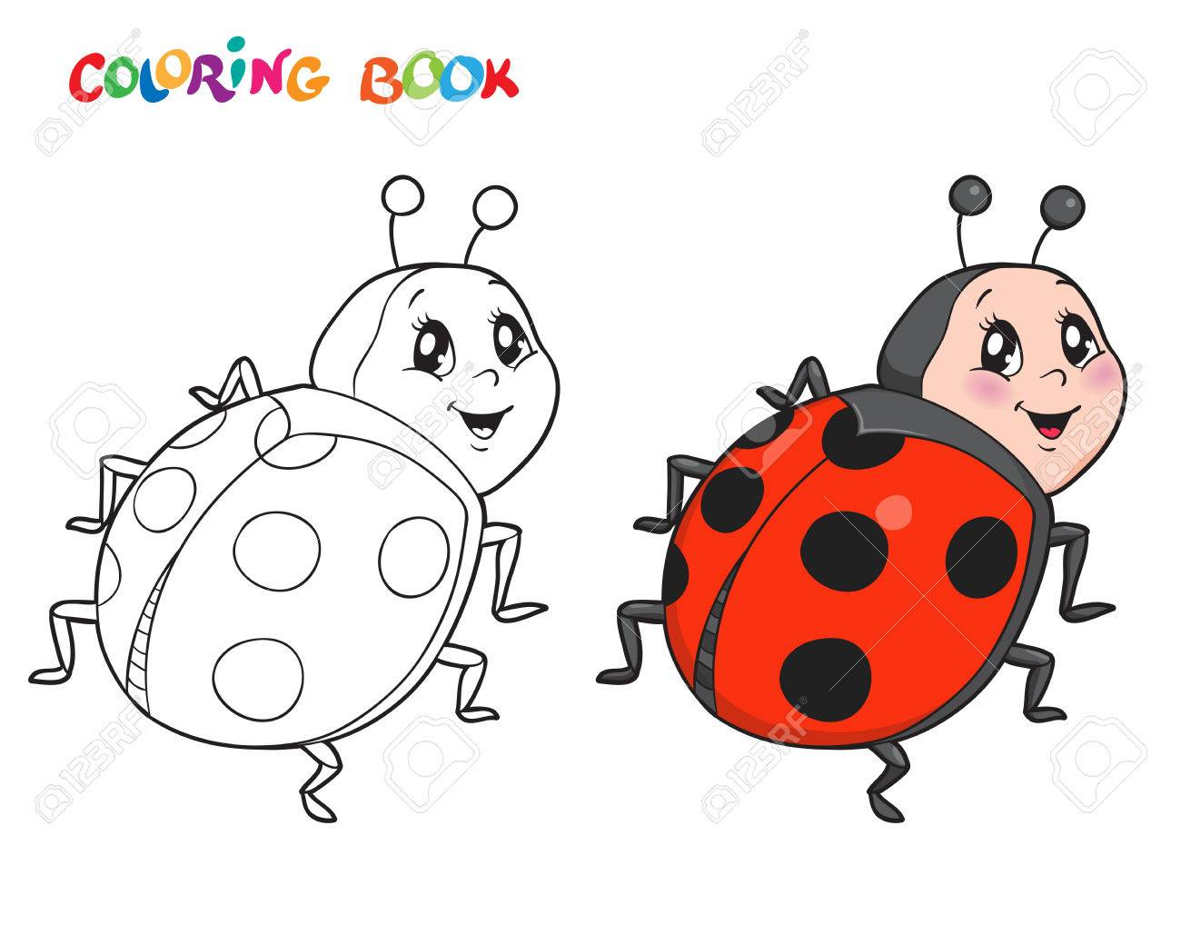 Coloring Book Or Page With Ladybug. Vector Illustration. Isolated ...