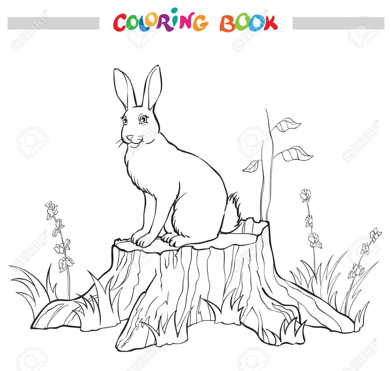 Libro Para Colorear Con Conejo En El Muñón La Flor Y La Hierba Ilustración Vectorial