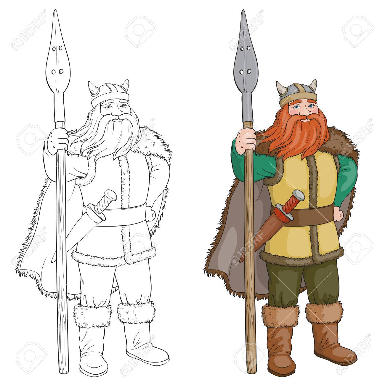 Black and White Cartoon Vector Illustration of Viking or Knight...