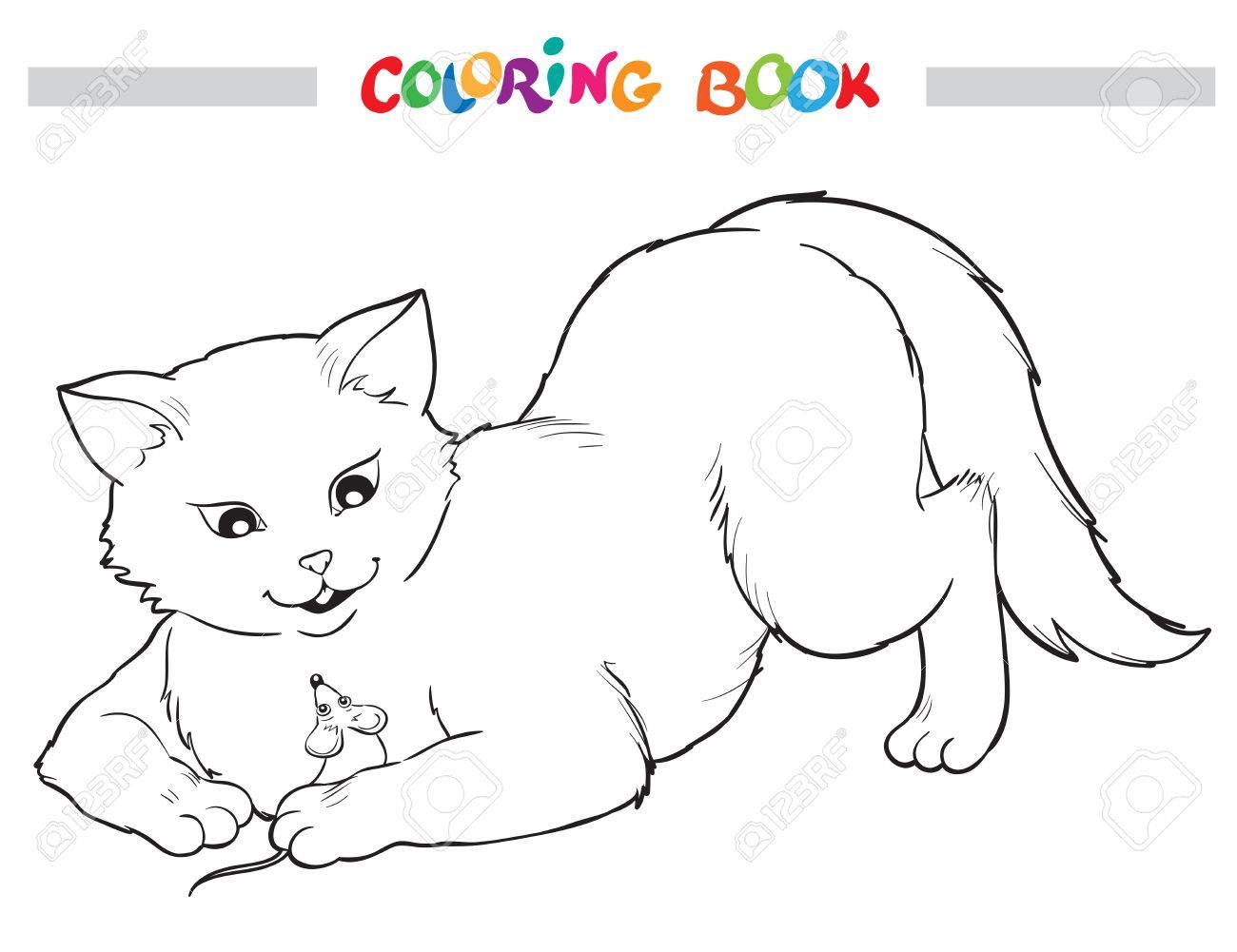 Libro Para Colorear Con Gato Y Ratón Ilustración Del Esquema Del Vector