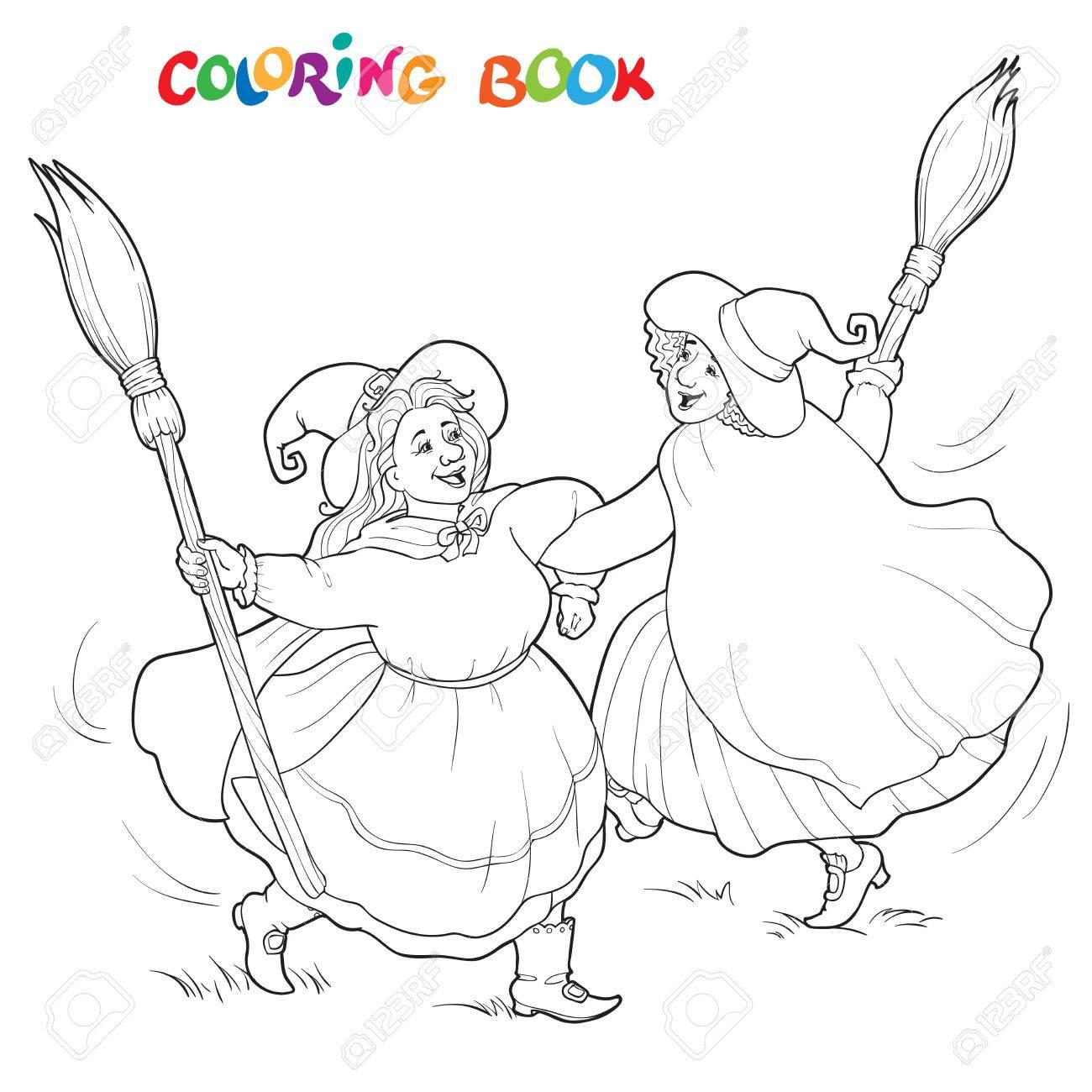 Brujas De Halloween Girando. Ilustración De Vector Blanco Y Negro ...