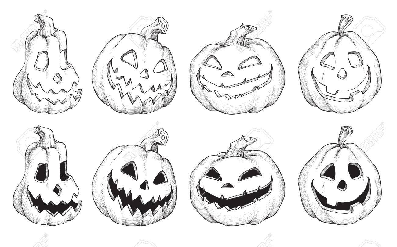 Ilustración De Vector De Dibujos Animados De Calabazas De Halloween ...