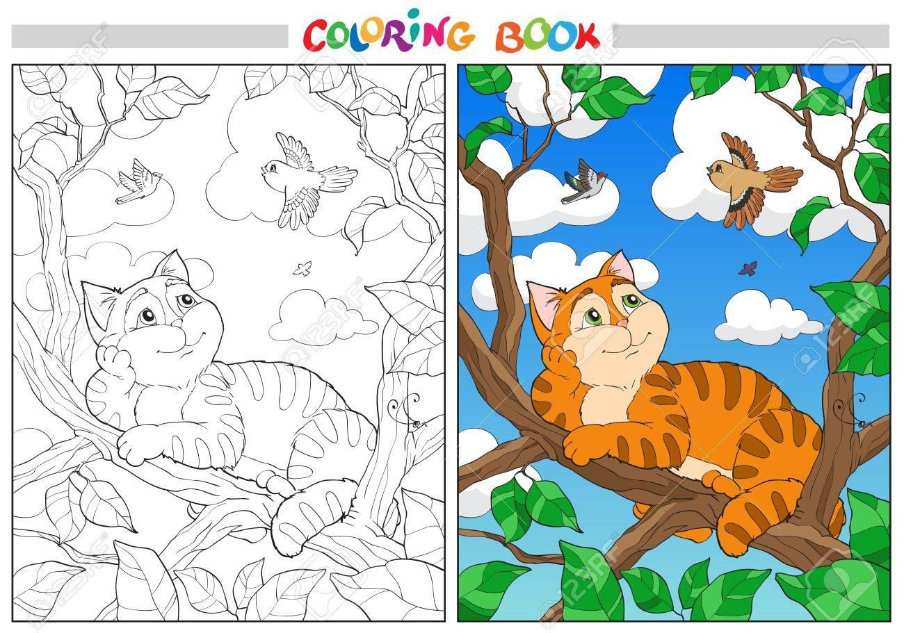 Gato De Dibujos Animados De Color En Una Rama Y Aves En El Cielo ...