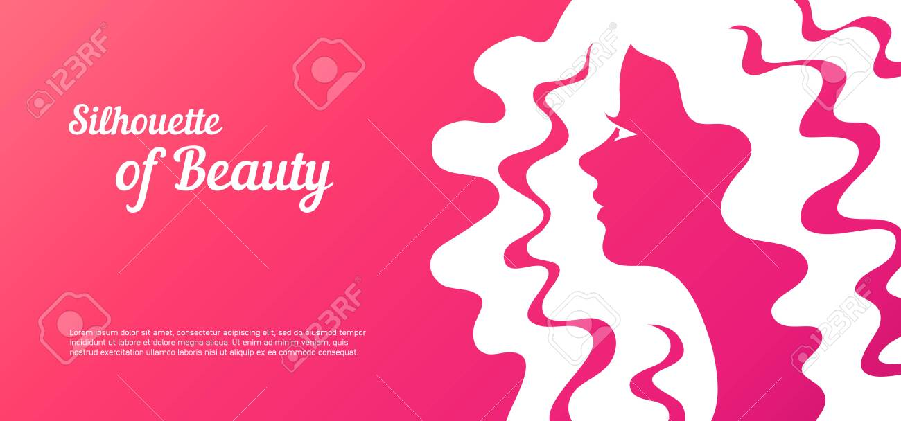 Abstract with blur female profile for greeting card or beauty salon poster. - 131285264