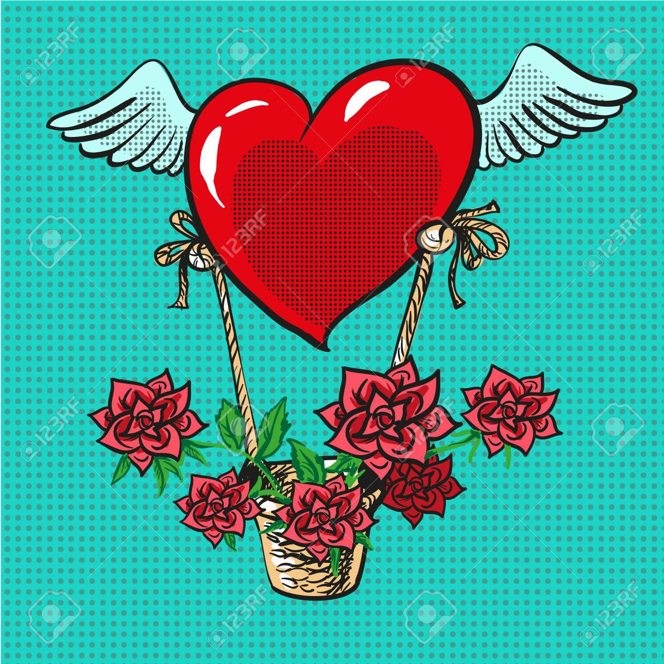 Heart with wings flying roses basket pop art comic vector - 70766075