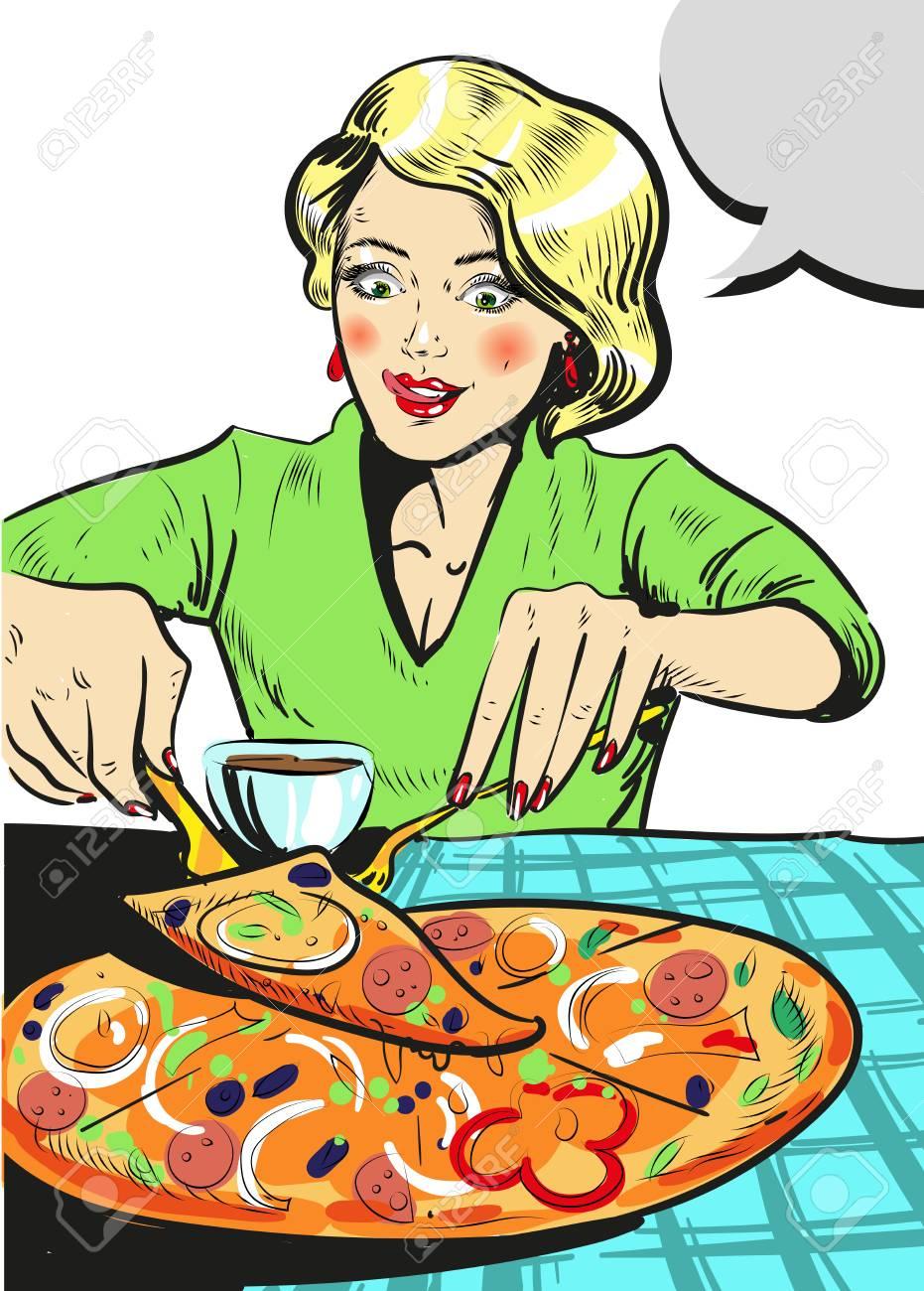 Woman eating pizza comic illustration - 74477013
