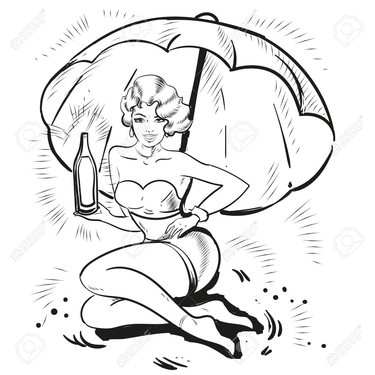 Pin up blond girl holding summer drink on a beach line art.