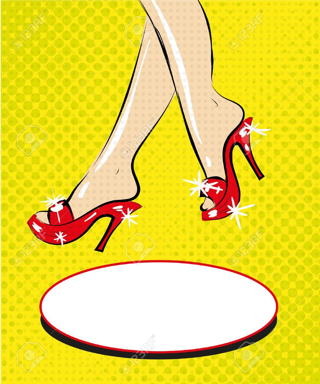 Cómic Los De Zapatos En Piernas Talones Mujer La Art Pop Moda Rojos xrCeodBW