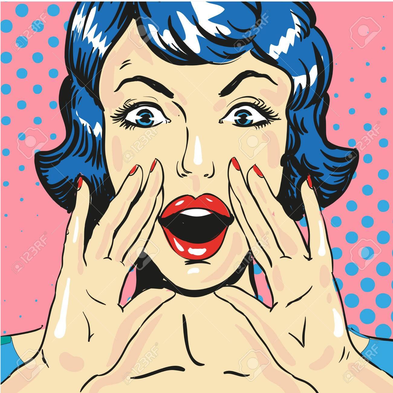 Woman screaming announcing news pop art comic style vector - 76173733
