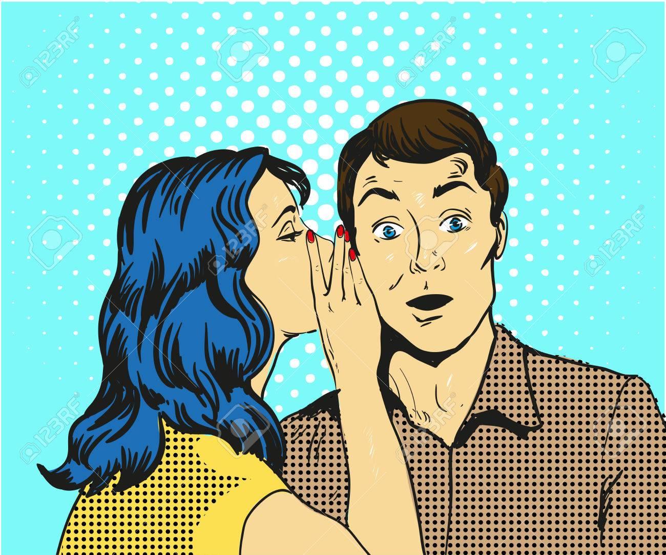 Man and woman whisper pop art vector illustration - 76173738