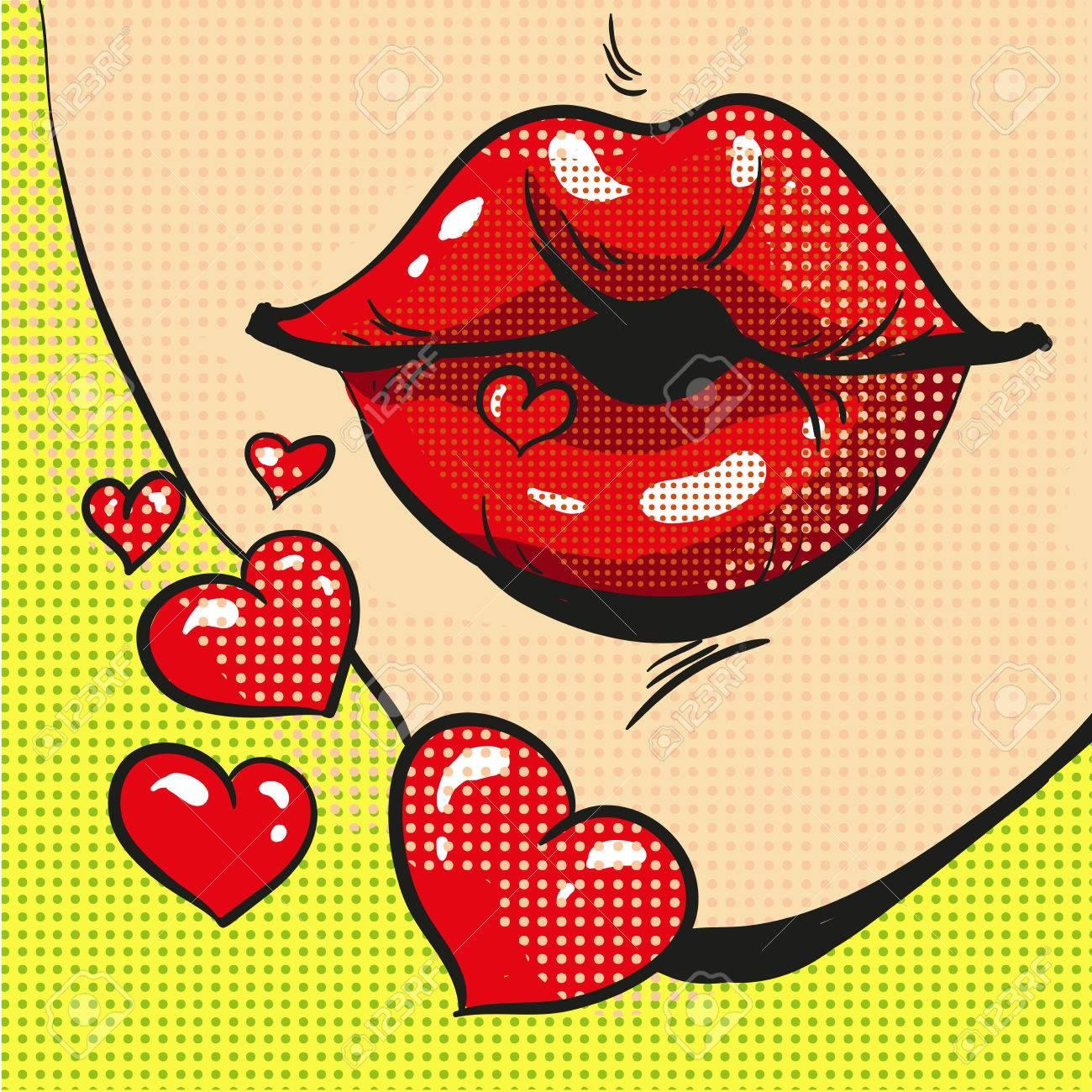 Femme Envoi Coeur Bisous Pop Art Bande Dessinee Style Clip