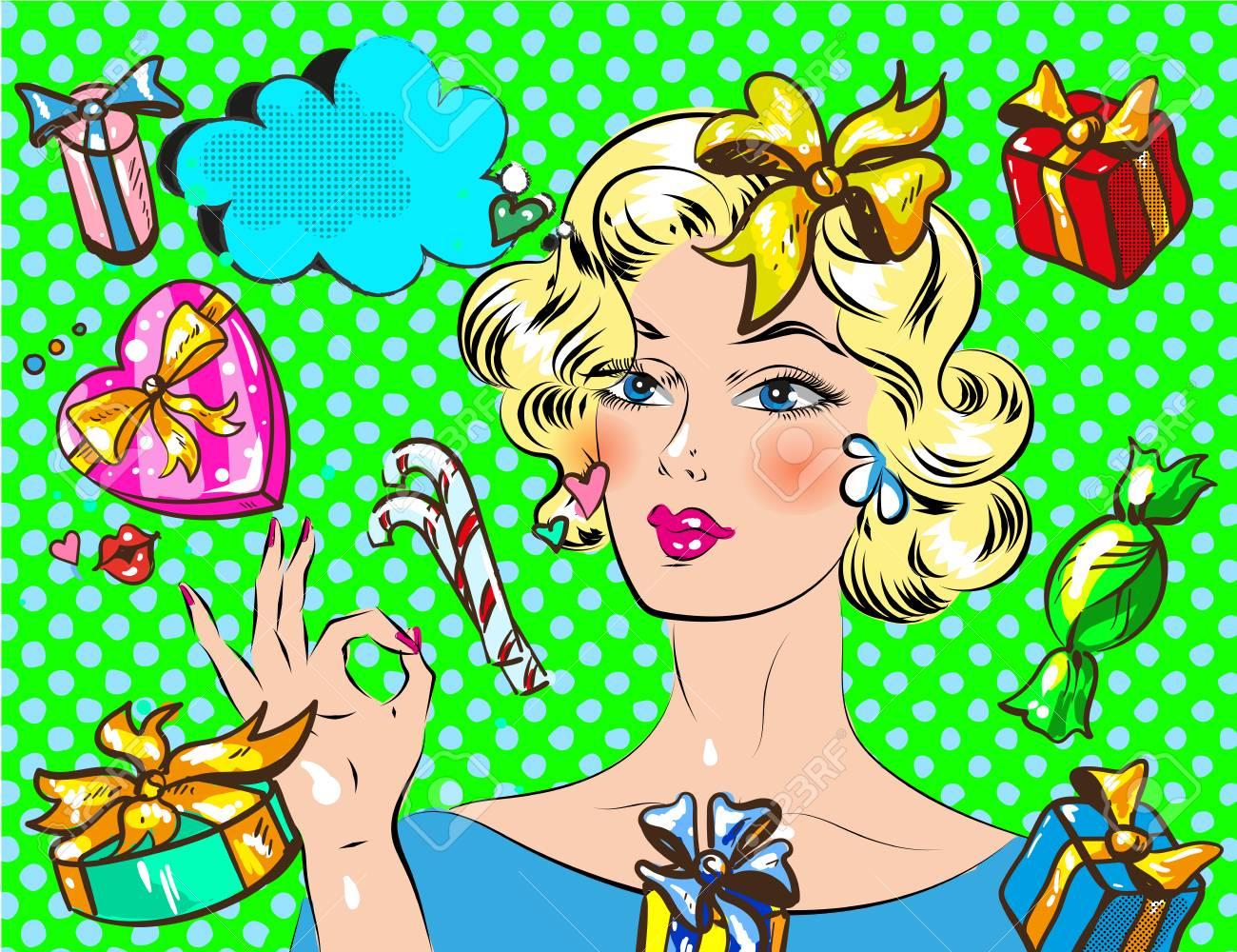 Femme Avec Un Cadeau De Noël Pop Art Style Rétro Belle Fille Avec