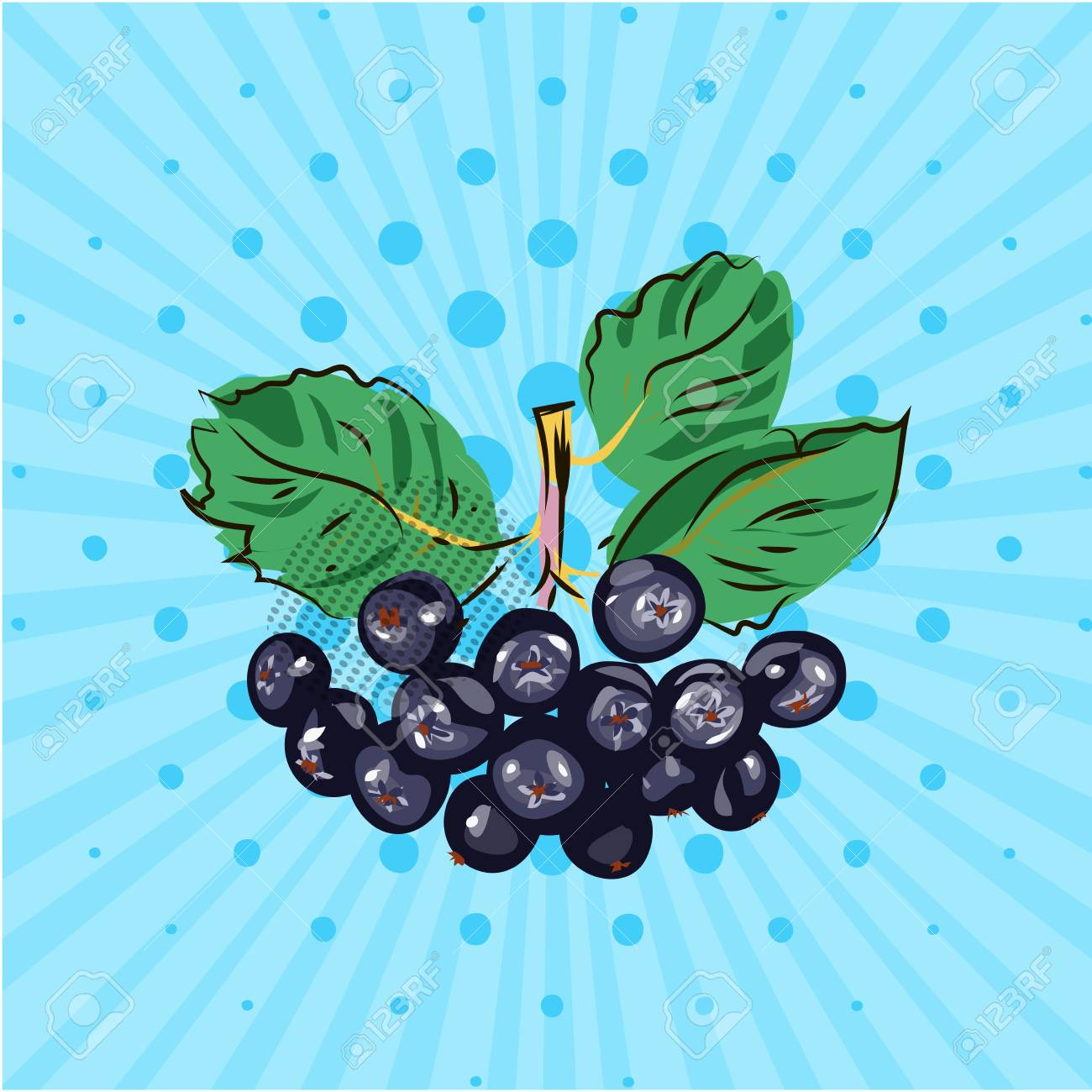 Hanging bundle of chokeberry on a blue background,lines,dots.Hand made in the style of pop art.Vector illustration.Eco - 95084027
