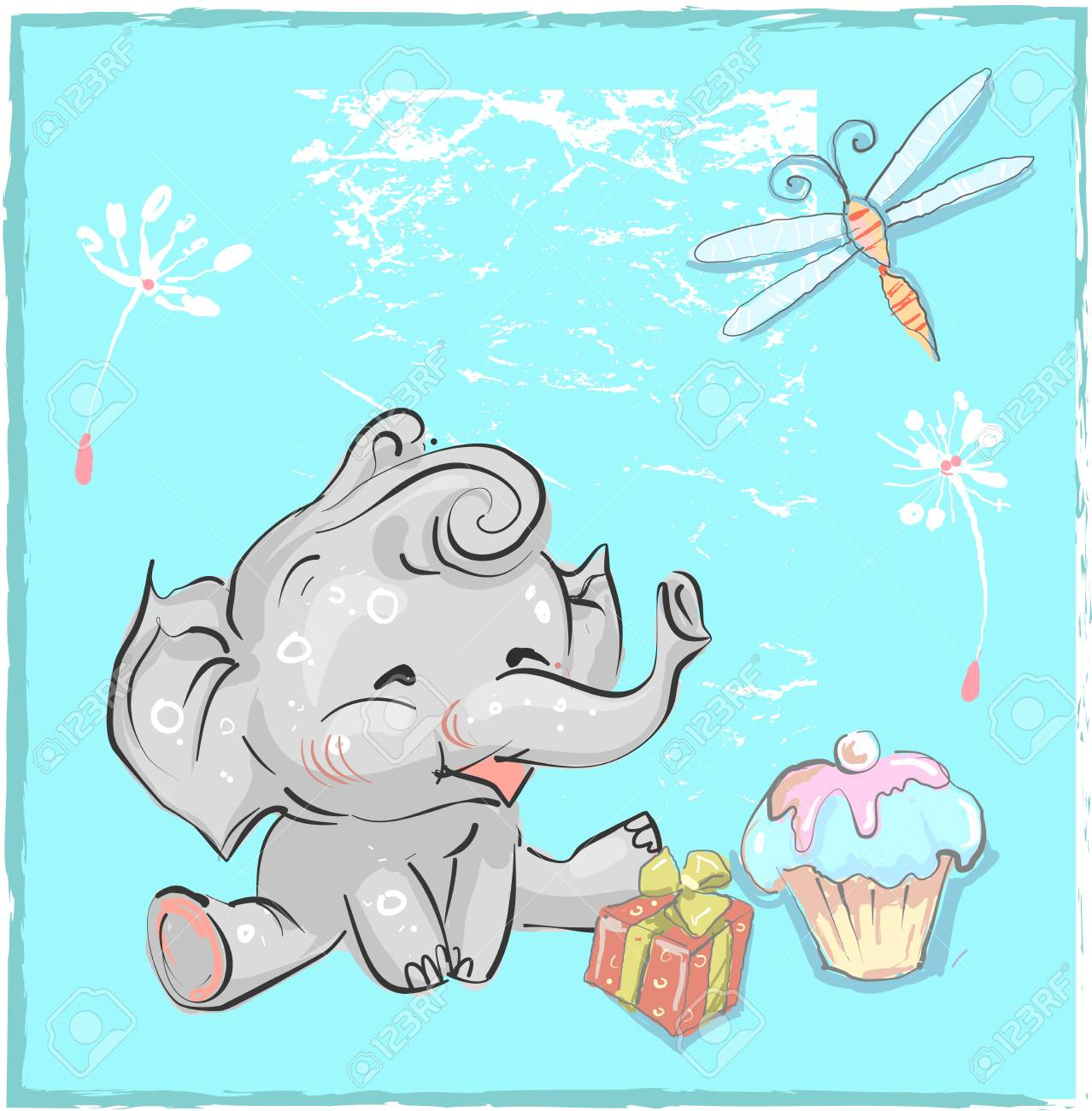 Little Lovely Elephant Birthday With Dragonfly And Cake For Prints