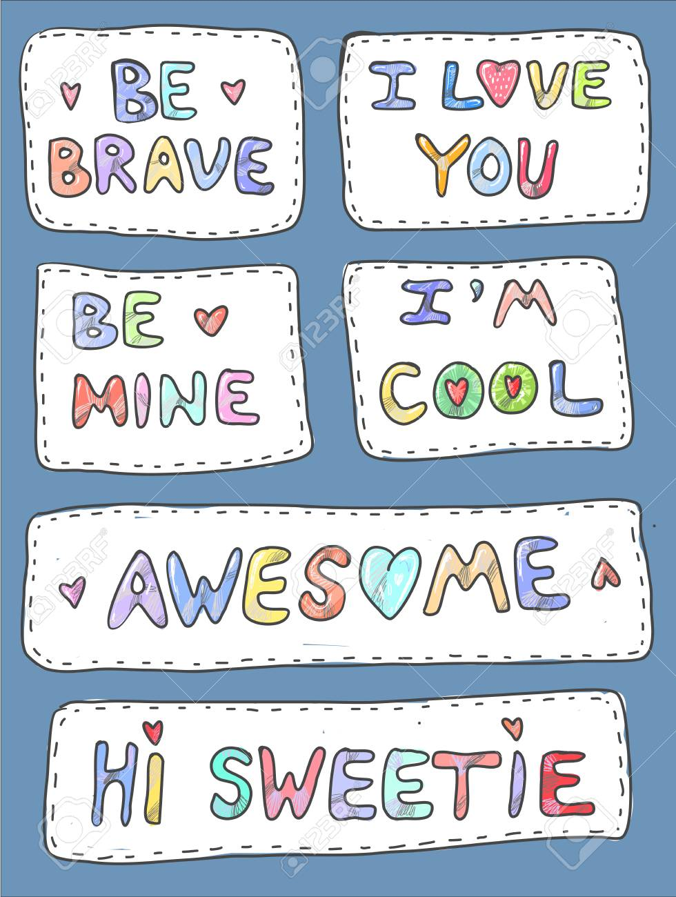 Modern cute colorful patch set on white background. Fashion patches of motivation phrases. Cartoon 80s-90s style. Vector illustration - 105197359