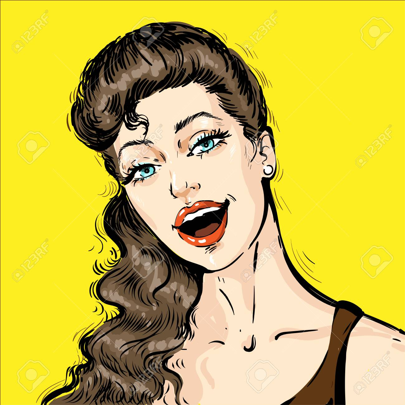 Portrait Of A Beautiful Young Woman With Open Mouth Talking Royalty Free Cliparts Vectors And Stock Illustration Image 124947984