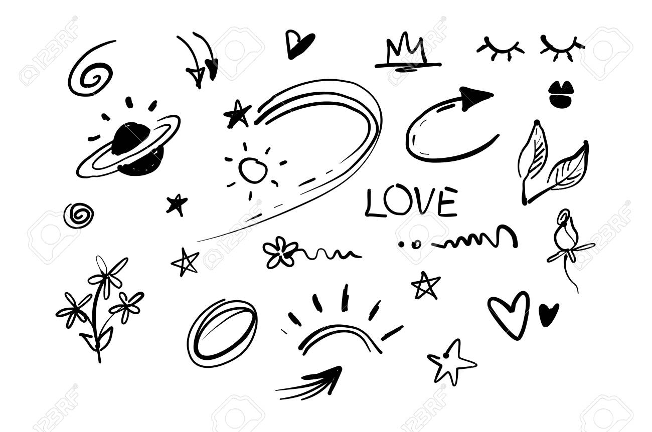 hand drawn doodle swishes, swoops, emphasis vector set. collection..  royalty free cliparts, vectors, and stock illustration. image 133616137.  123rf
