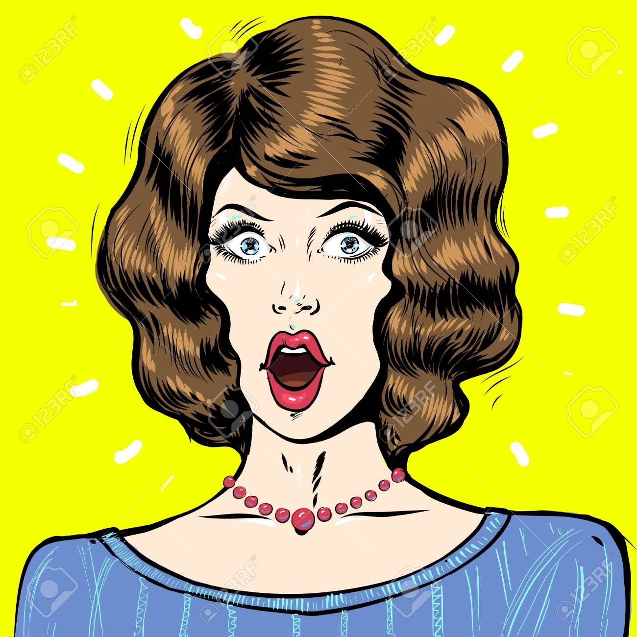WOW pop art surprised woman face, portrait with open mouth and dark hair - 147907597