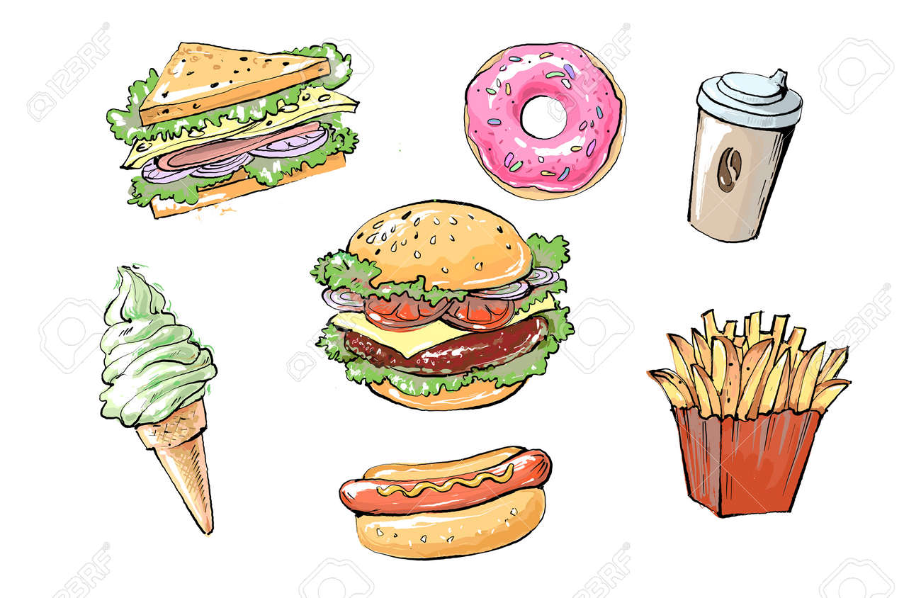set of delicious and juicy fast food products. realistic colored sketch illustration of street food and cafes - 157384393