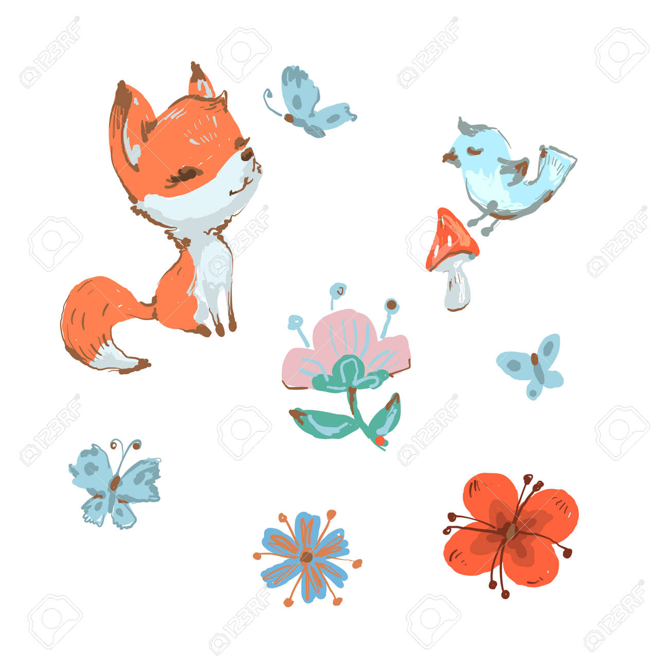 Cute fox and bird, butterfly mushroom and flowers spring collection - 162236688
