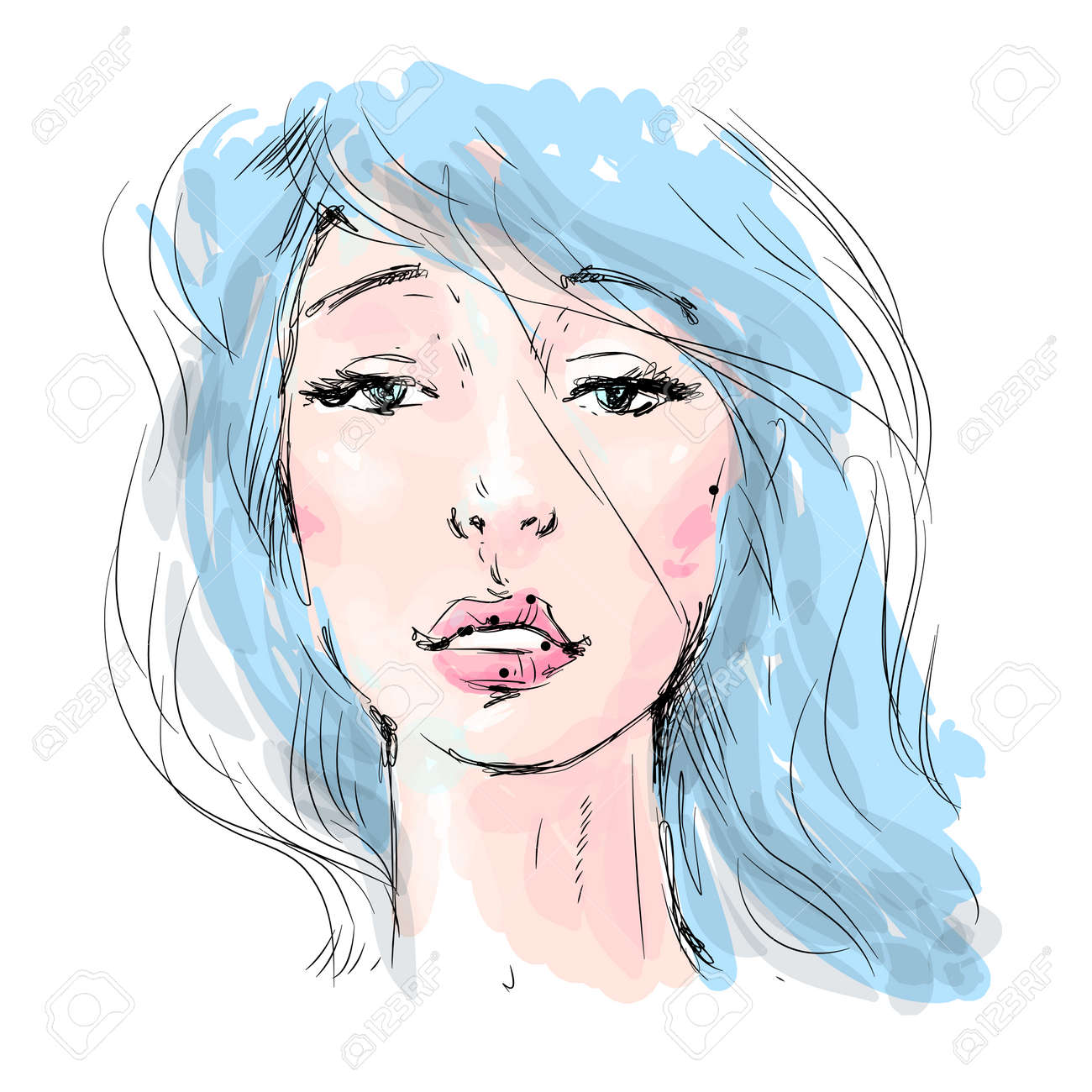 Beautiful girl face with long blue hair. Watercolor illustration in vector.Design for invitation, wedding, birthday and greeting cards, salons, beauty and fashion industry. - 162823026