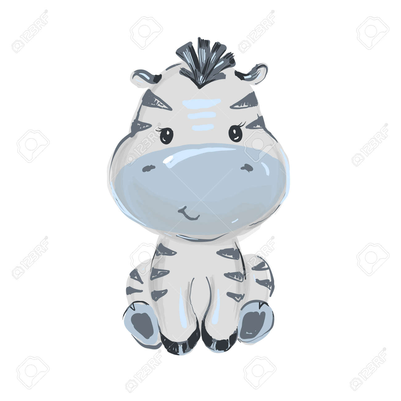 Cute baby hippo seating and smiling illustration - 163187666