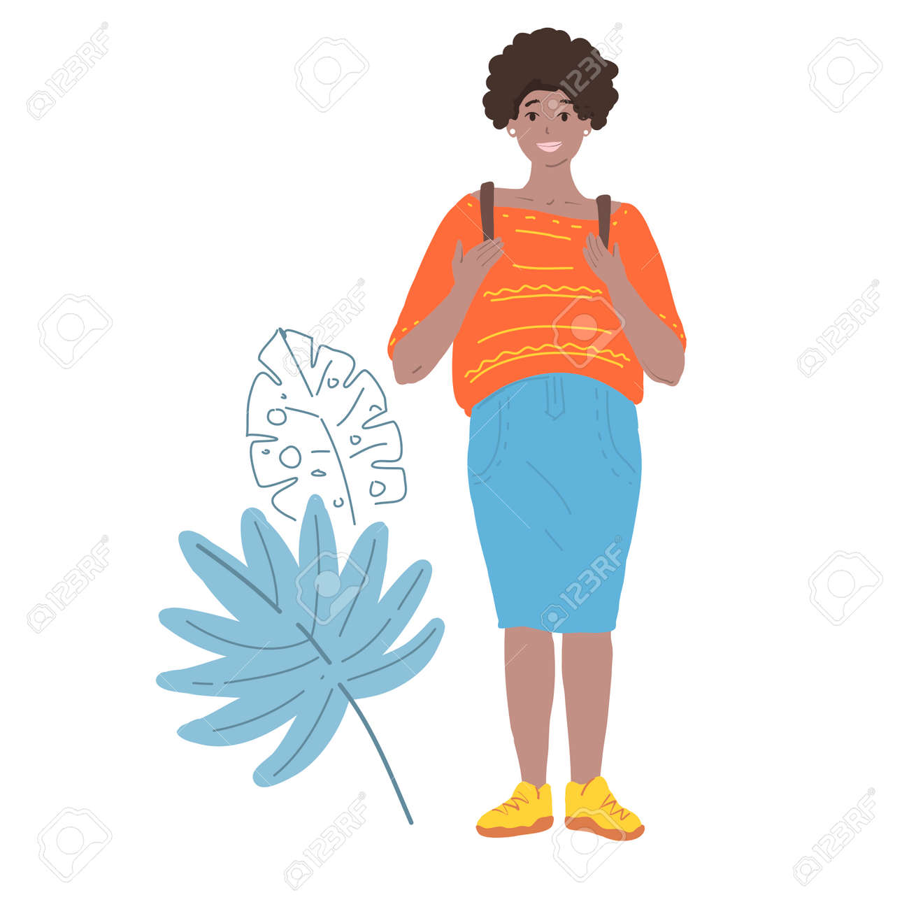 Smiling beatiful woman with afro hairstyle holding backpack isolated vector illustration - 163901228