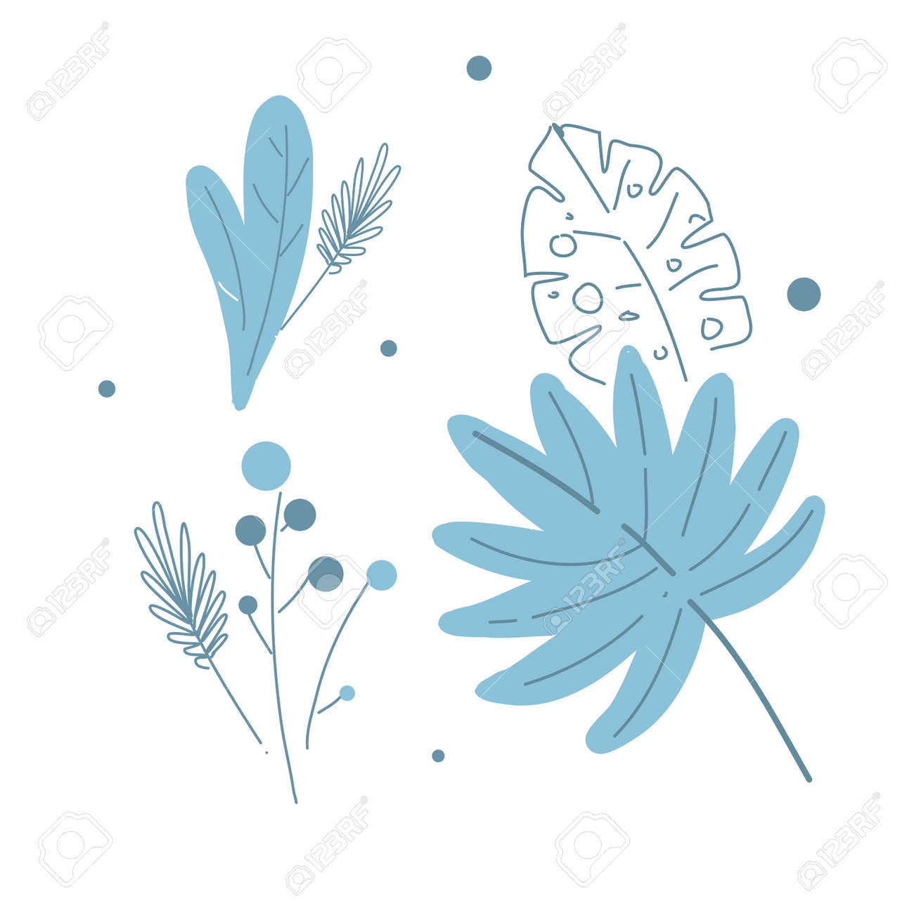 Modern floral leaves and berries, line and shape drawing style vector illustration - 164110829