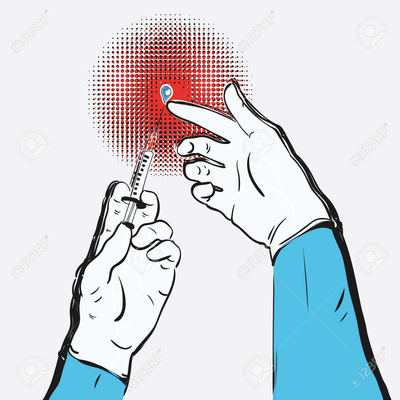 Hands holding or showing medical syringe vector illustration freehand drawing - 163540625