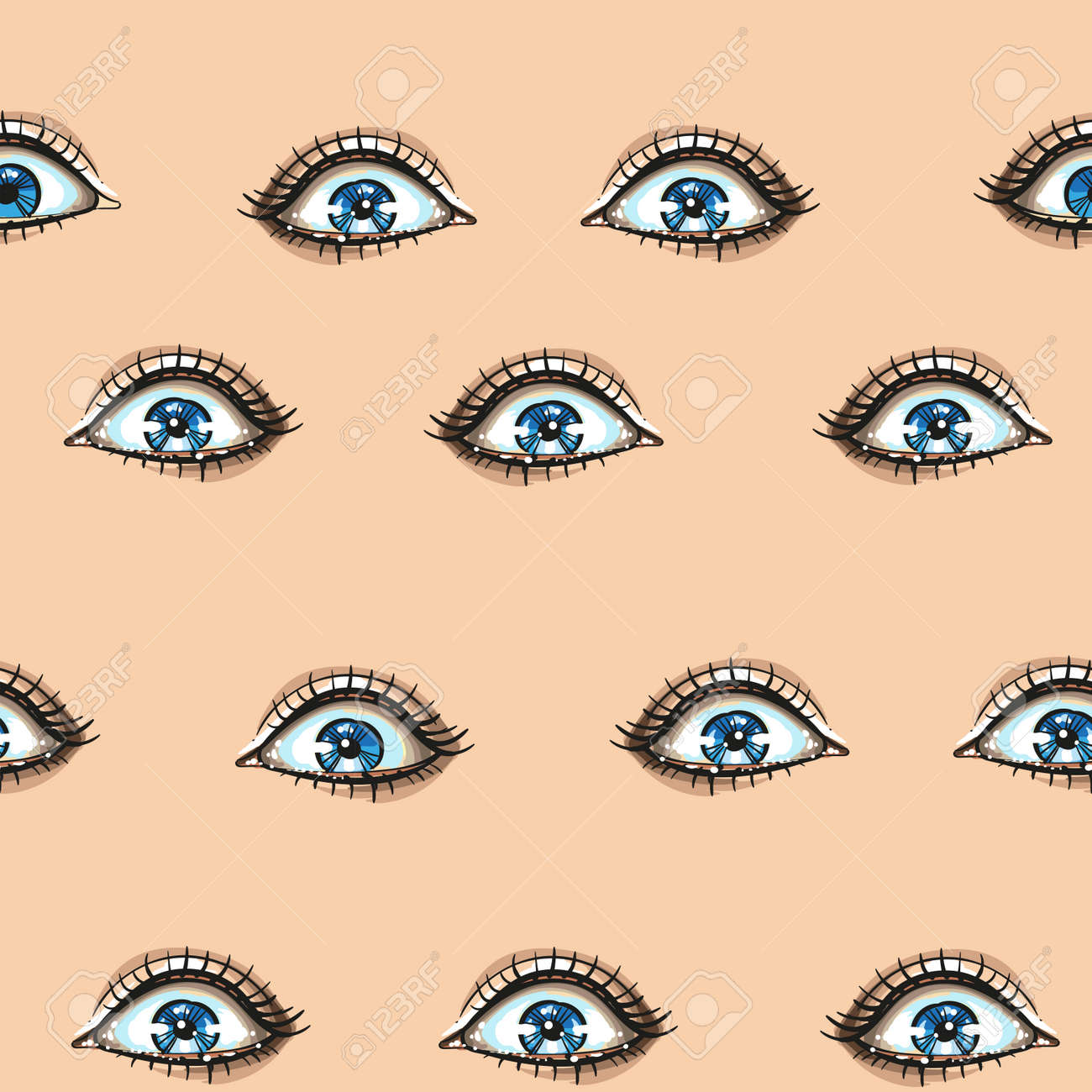 Fashion seamless pattern with woman blue eyes face expressions shine eyes, surprised. Hand drawn vector art - 164110835