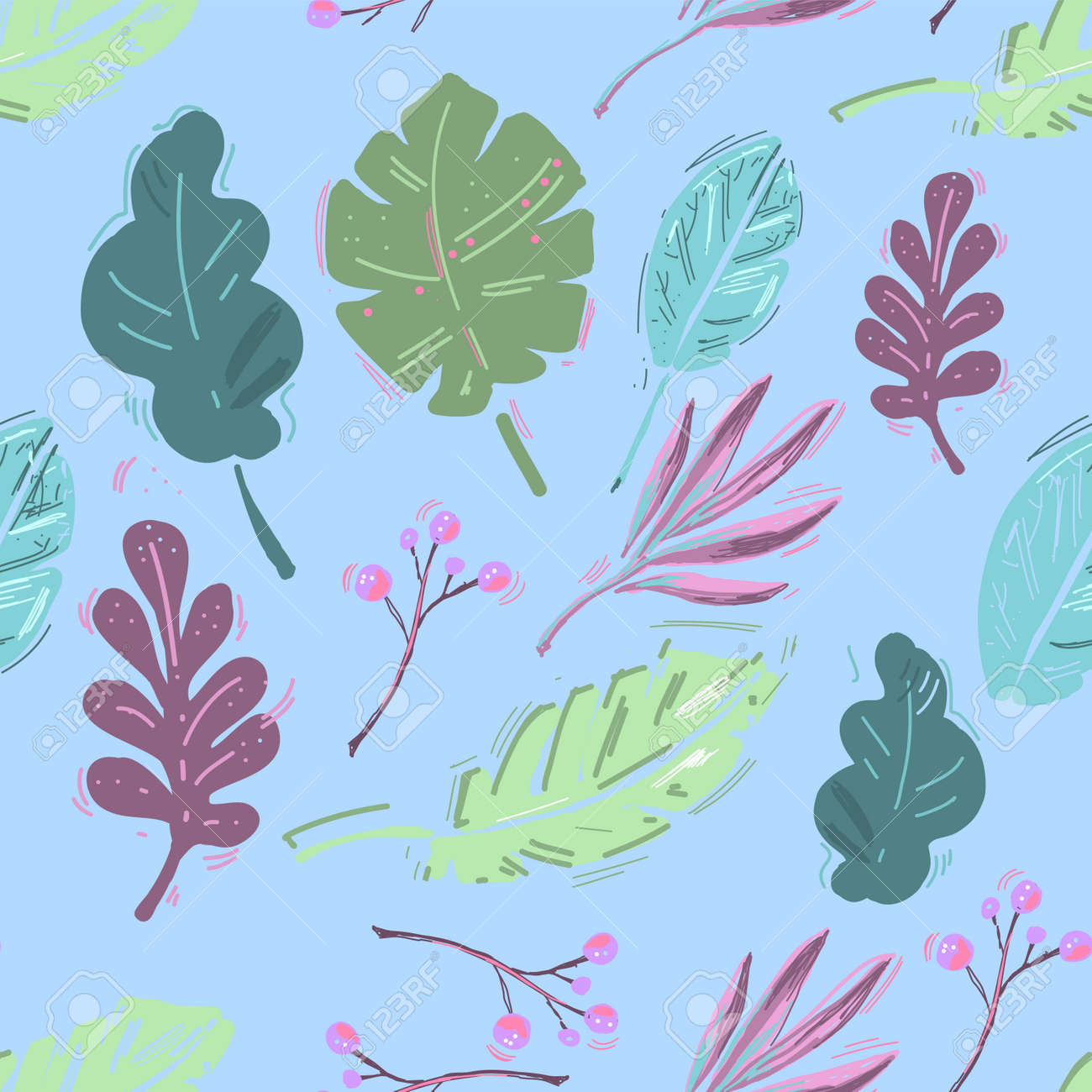 Summer exotic floral tropical palm, banana leaves. Pattern vector seamless. Plant flower nature wallpaper - 164110834