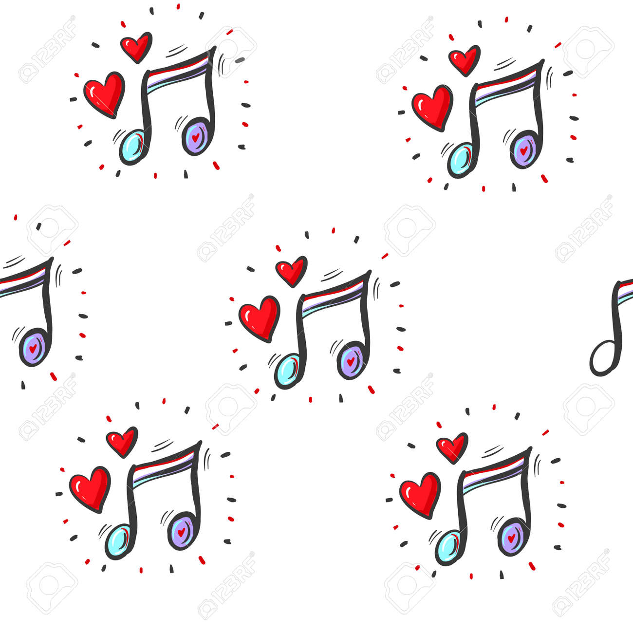 seamless pattern wallpaper of musical notes and hearts. Vector Illustration - 164110833