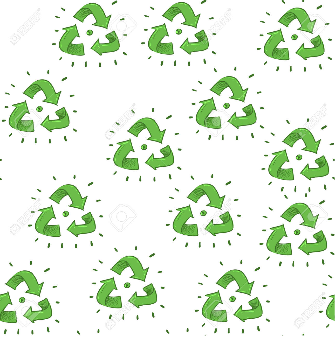 Ecology three arrow symbol seamless pattern with resycling vector clipart on off white background for wrapping. - 164110837