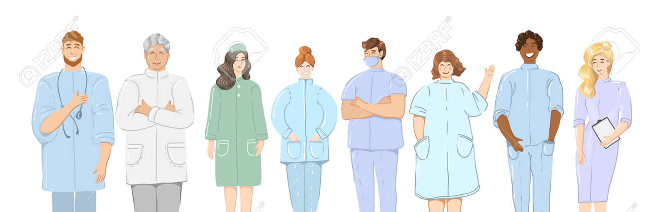 Doctors. Team of medical workers on a white background. Hospital staff. Vector illustration in cartoon style - 164489984