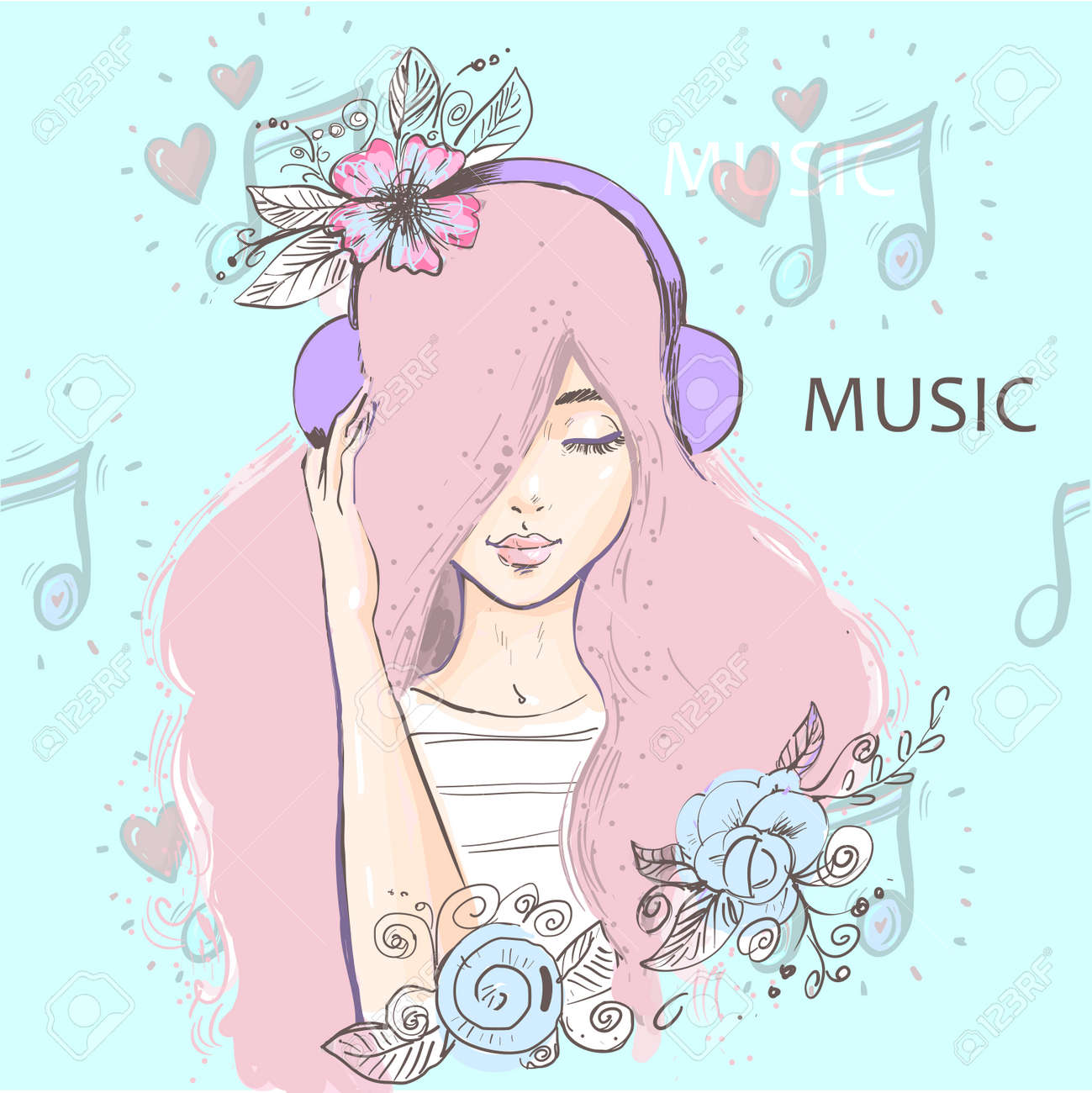 Beautiful deep in thought girl with long pink hair listening to music on headphones with notes background - 164147455