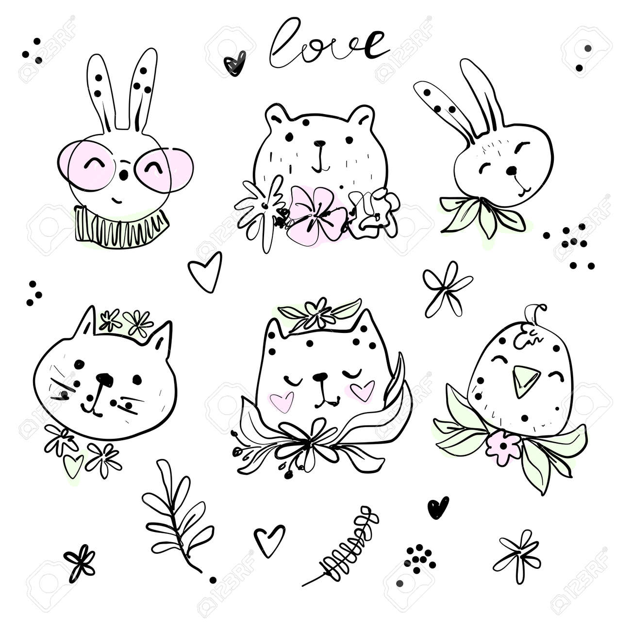 Cute hipster animals with spring flowers line illustration, bunny bear cat bird - 164586092