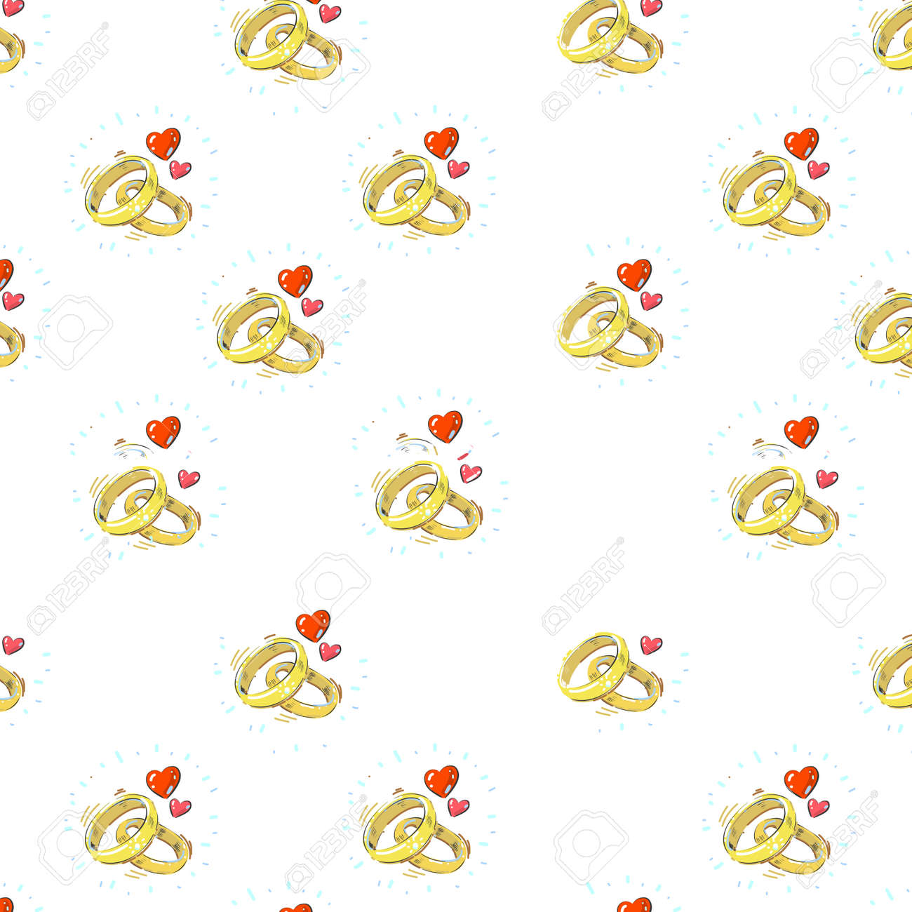 Hand drawn realistic engagement marriage rings with hearts seamless pattern on white background - 164944864