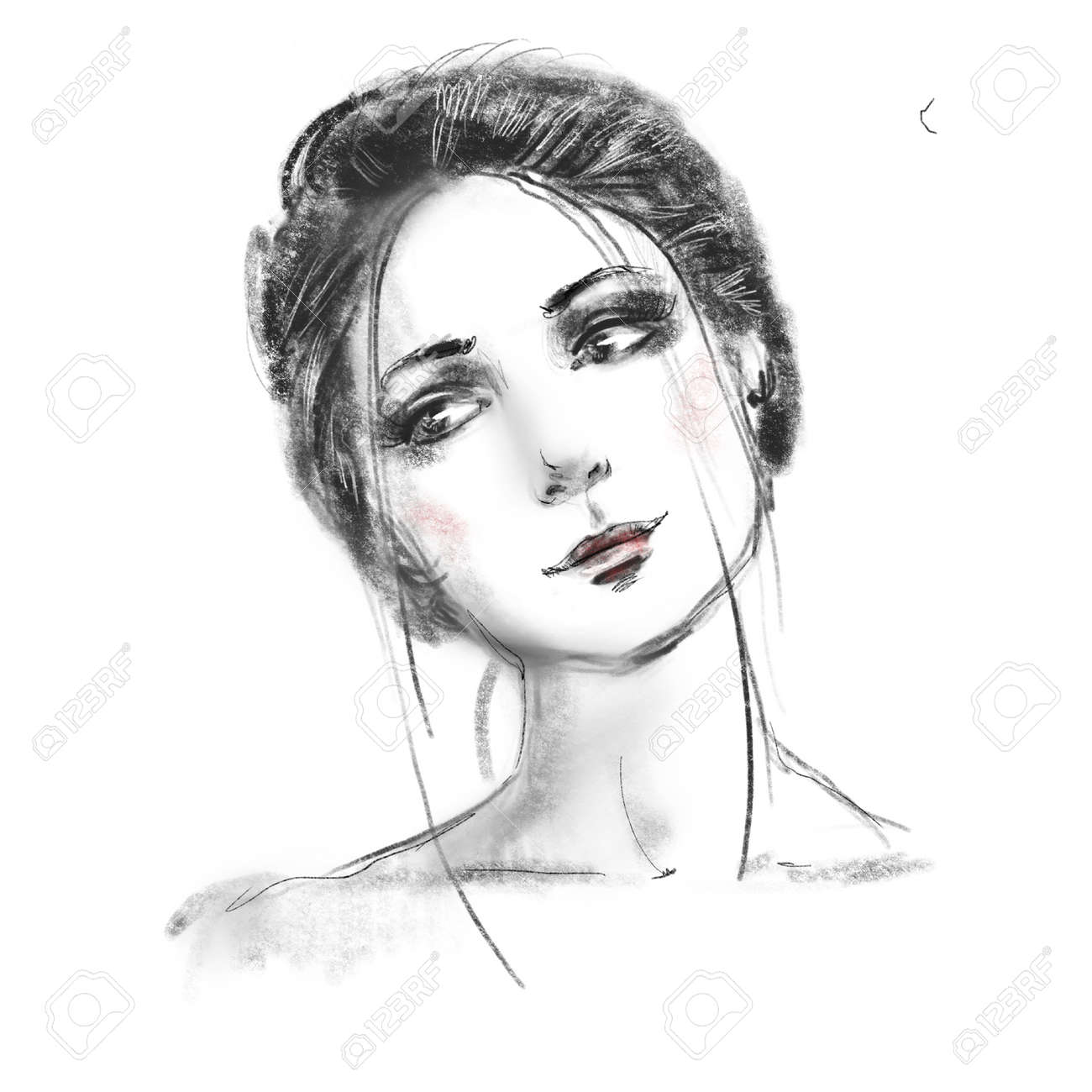 Beautiful girl face close up sketch. Hand drawn black and white pencil fashion illustration. Young woman portrait. - 164944863