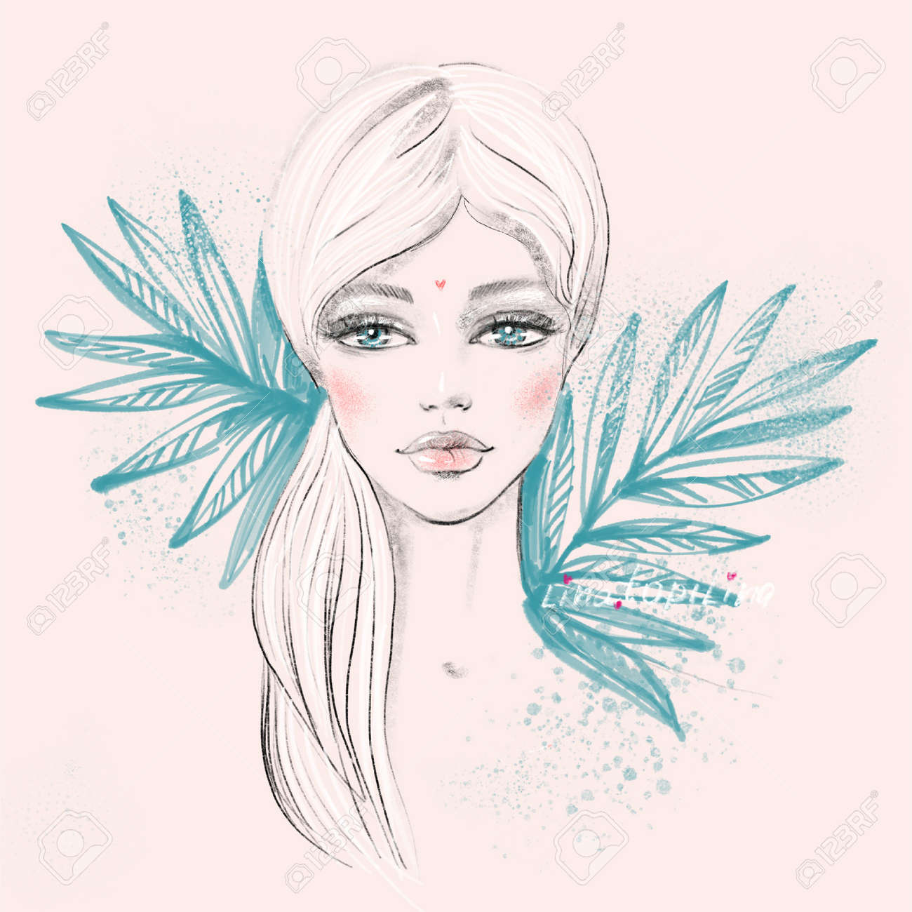 Fashion portrait of a doll beautiful young female face with big eyes with a tropical plants in a sketch trendy style on a light pink background for contemporary beauty fashion concept. - 165026392