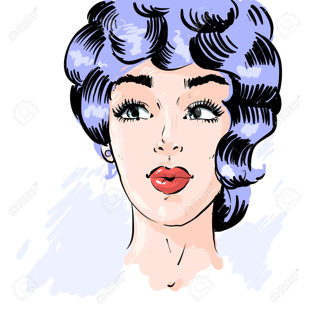 Beautiful pin up surprised woman in the pop art comics style. Vector EPS10 illustration. - 166512483