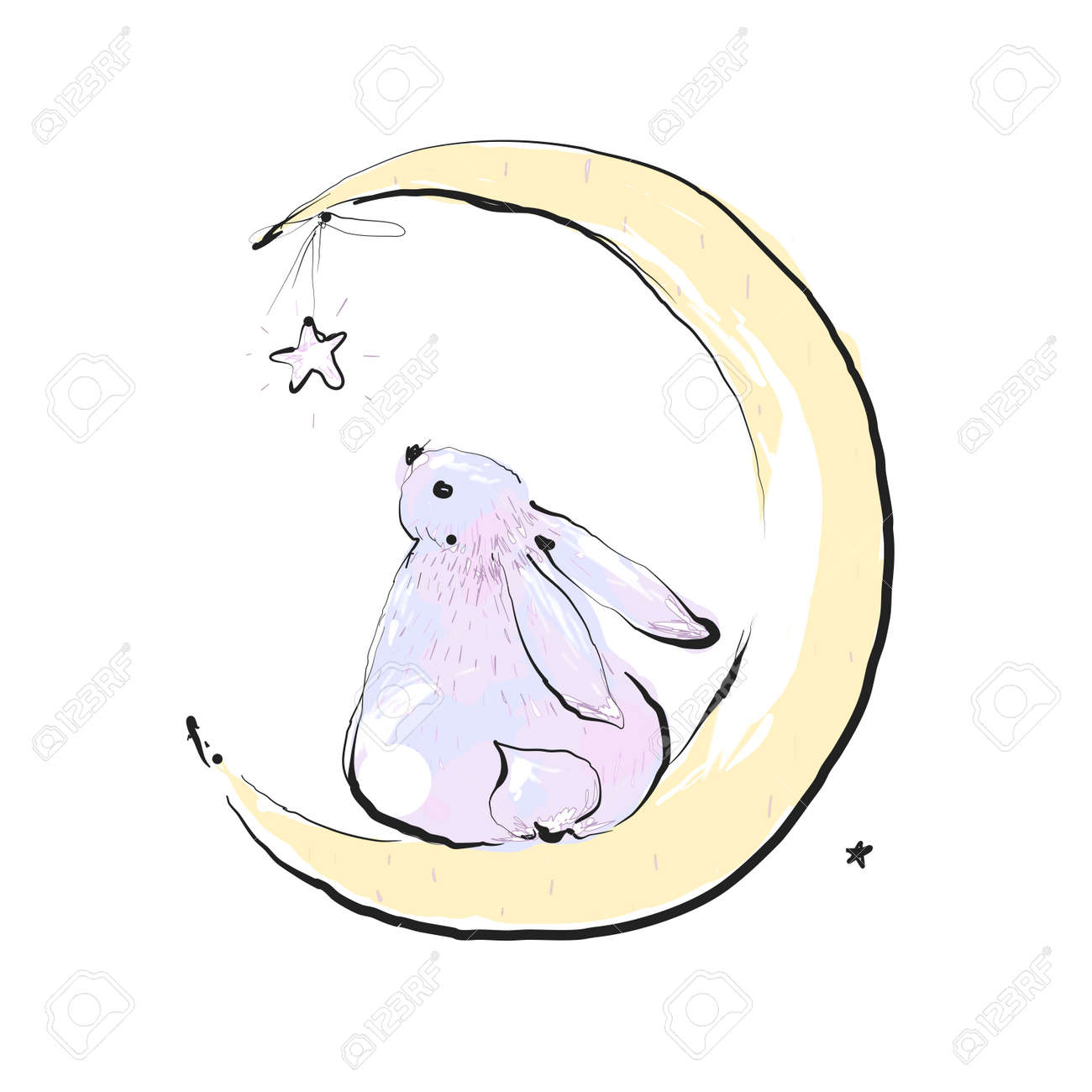 Bunny seating on the moon and watching star. Card with Cute bunny. Concept idea. Good night. Can be used for children. Vector Ilustration - 169291686