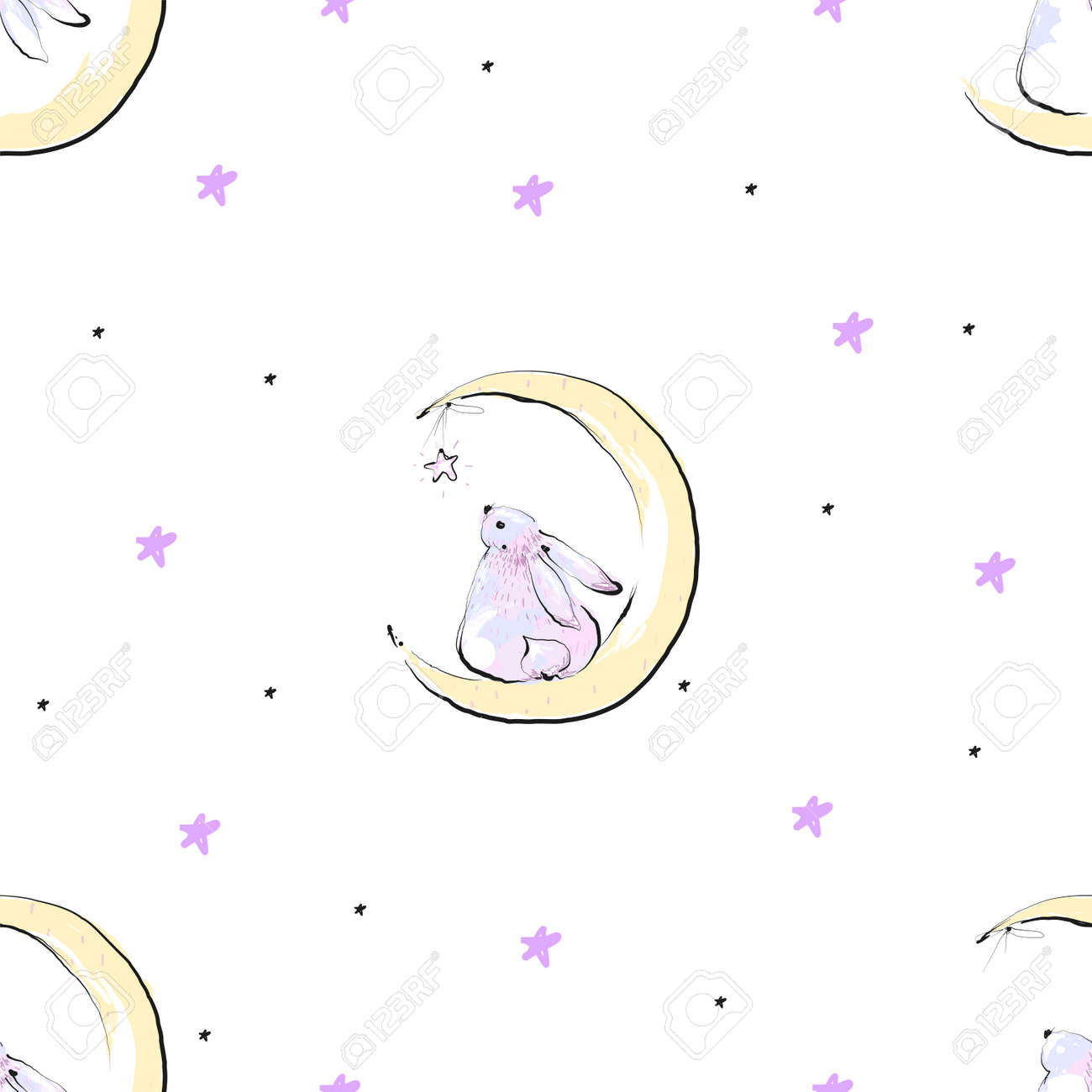 Seamless pattern with stars and cute bunny on the Moon - 171024850