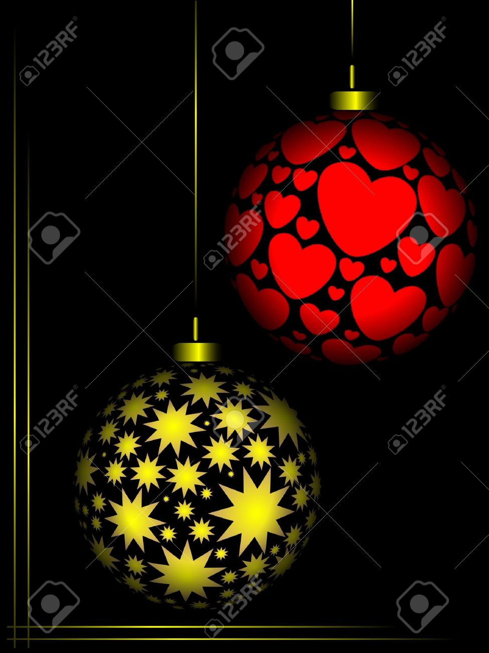 Red and gold christmas ornaments - Christmas Ornaments Red And Gold Colour On Black Background Stock Photo 6008975
