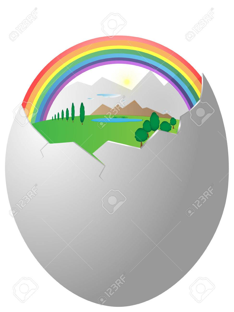 The abstract image of terrestrial landscape in egg shell Stock Vector - 6249604