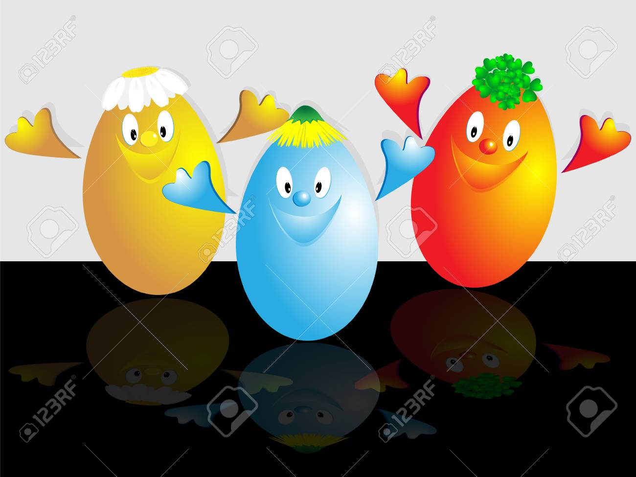 The comic image of three Easter eggs of different color on white and black background Stock Vector - 6322634