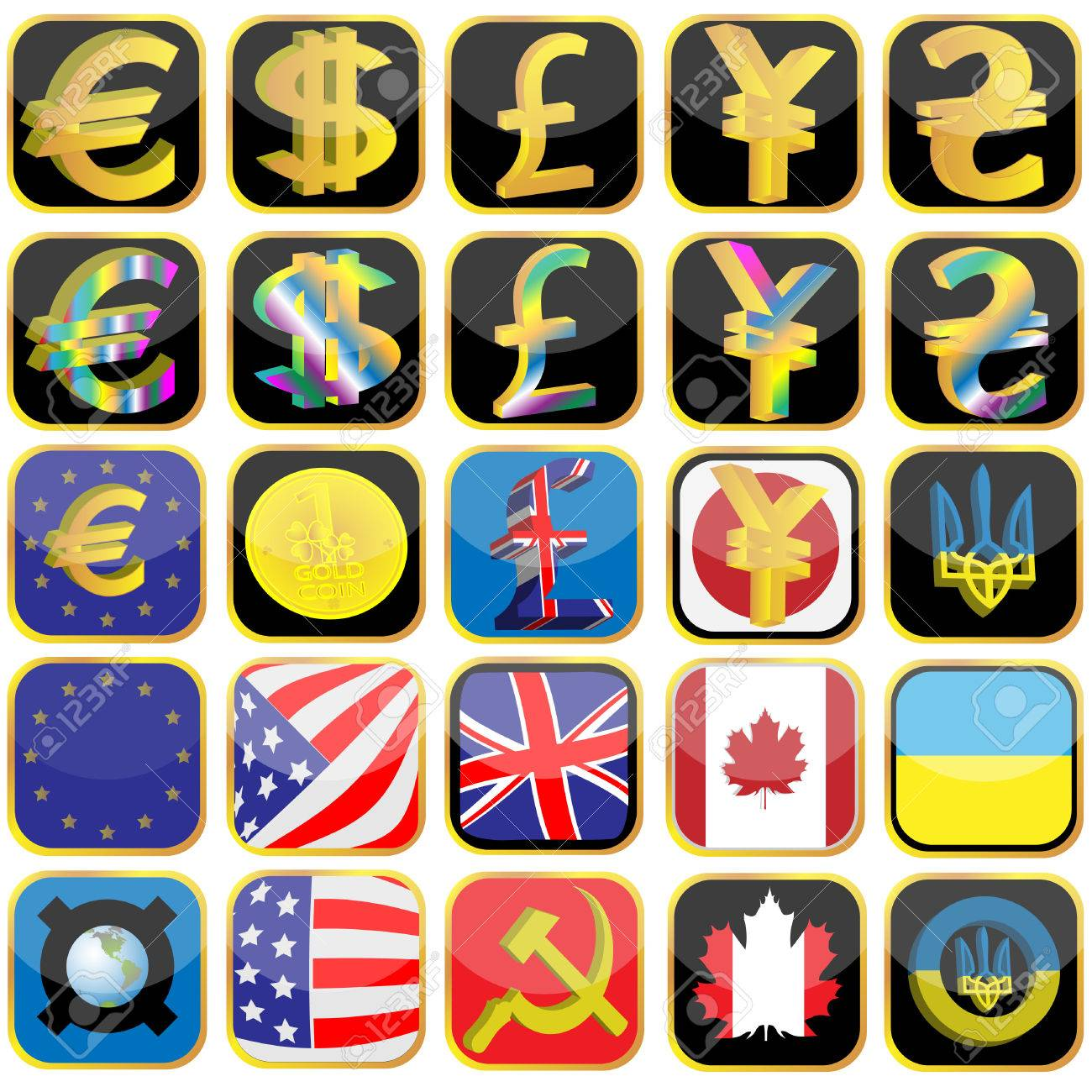 Symbols Of Currencies And Flag Of The Different Countries Made