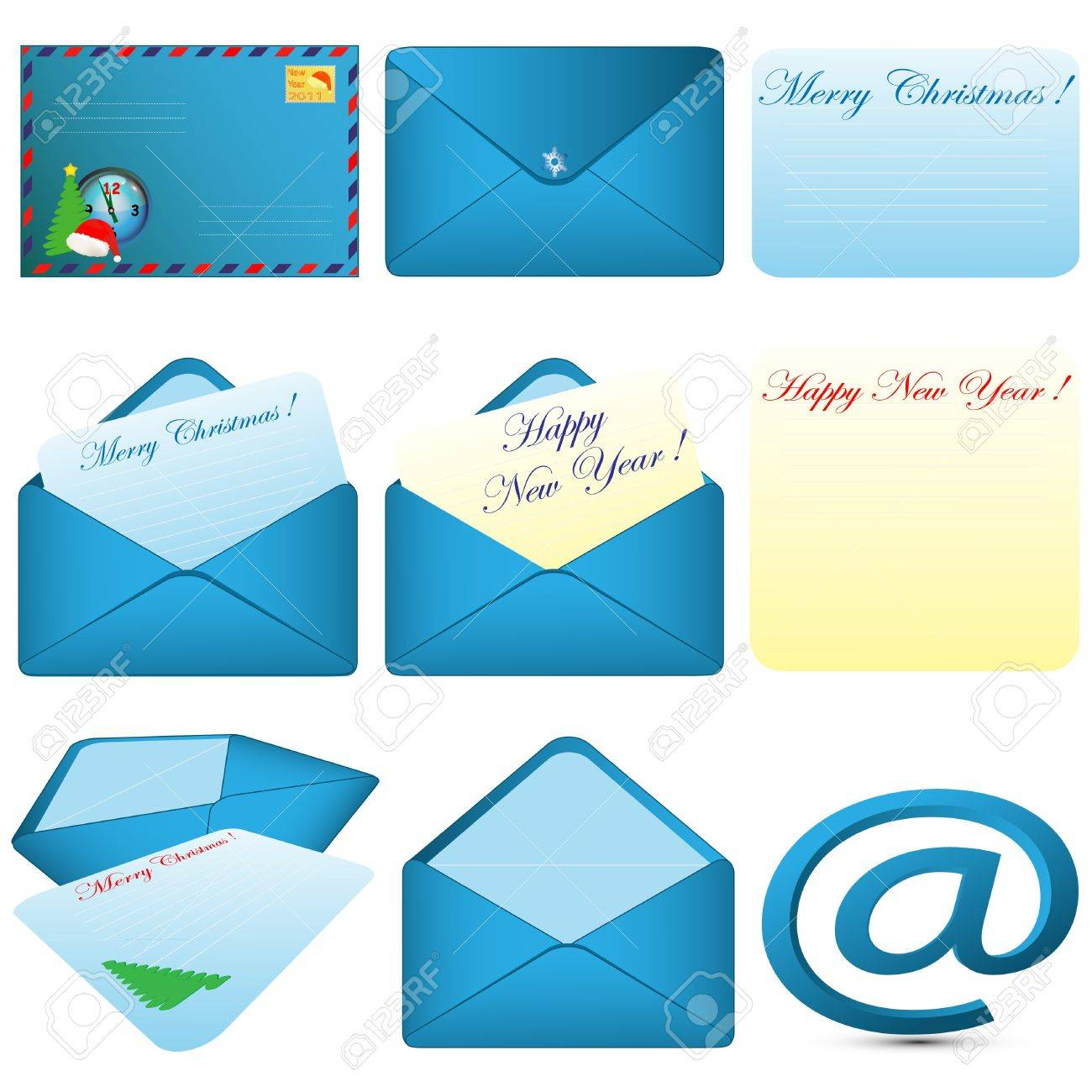 Collection of pictures consisting of envelopes and letters of various forms on a pure background Stock Vector - 8339555